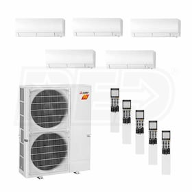 Mitsubishi Wall Mounted 5-Zone H2i System - 42,000 BTU Outdoor - 6k + 6k + 9k + 15k + 15k Indoor - 19.0 SEER