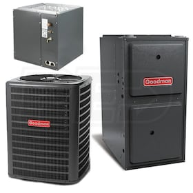 Goodman - 3.0 Ton Cooling - 80k BTU/Hr Heating - Air Conditioner + Furnace Kit - 14.0 SEER - 96% AFUE - For Upflow Installation