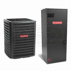Goodman - 5.0 Ton Cooling - 60k BTU/Hr Heating - Two-Stage Heat Pump +  Air Handler Kit - 16.0 SEER - 9.0 HSPF
