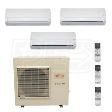 Fujitsu F3H36W07071800 Wall Mounted 3-Zone System - 36,000 BTU Outdoor - 7k  + 7k + 18k Indoor - 18 0 SEER